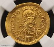 东罗马帝国皇帝芝诺索利多金币-NGC评级精选AU近未流通希腊凝绿轩