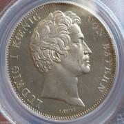 【德藏】德国1839年巴伐利亚选帝侯2泰勒银币 镜面底板 PCGS MS63