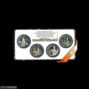 1992年NGC69级22克中国杰出历史人物(第9组)纪念全套4枚银币