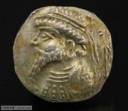 古埃兰王国四德拉克马银币原坑罐装生成的金色包浆