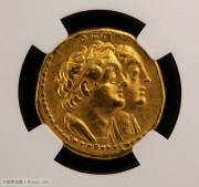 NGC评级古埃及托勒密二世和王后四德金币