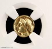 古古希腊少女头像琥珀金币NGC评级近未流通品