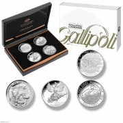 2015年 澳英新土 加利波利战役百年 4枚套装银币 盒证齐全