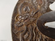 1603-1868 日本 古董刀镡 青龙鎏金 精品级