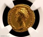 古罗马帝国皇后福斯蒂娜奥雷金币-NGC评级优美艺术性好双5分
