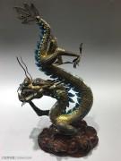 【中国梦·中国龙 】创汇期 银掐丝珐琅彩 镶青金、绿松 龙型摆件