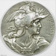 ★UNC 1922年法国玛丽安娜女神鸡冠镀银大铜章