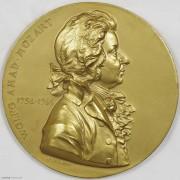 ★UNC 1896年奥地利莫扎特雕塑落成纪念镀金大铜章
