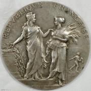 UNC 1922年法国农业丰收题材大银章 原盒